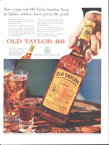 Old Taylor 86 Bourbon Whiskey Page LIFE May 16 1955
