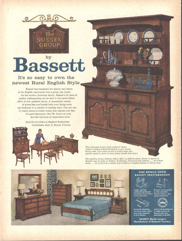 Bassett English Style Furniture Page LIFE October 20 1958