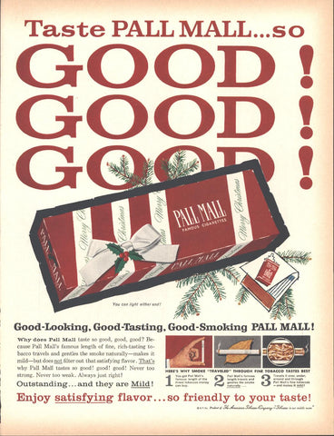 Pall Mall Cigarettes Christmas Page LIFE December 5 1960