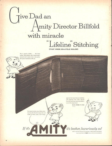 Amity Leather Billfold Wallet Gift Page LIFE December 5 1960
