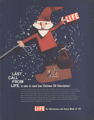 LIFE Christmas Subscription Advertisement Page LIFE December 5 1960