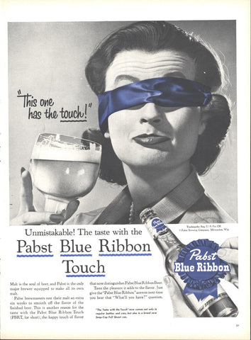 Pabst Blue Ribbon Beer Page LIFE July 2 1956