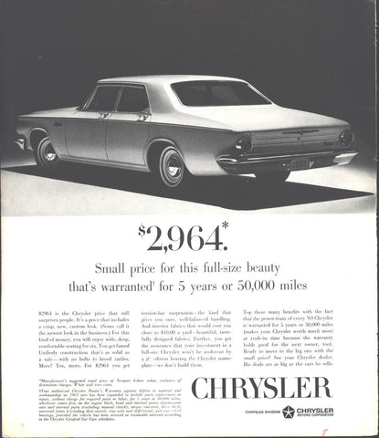 Chrysler Newport Sedan 1963 LIFE November 23 1962