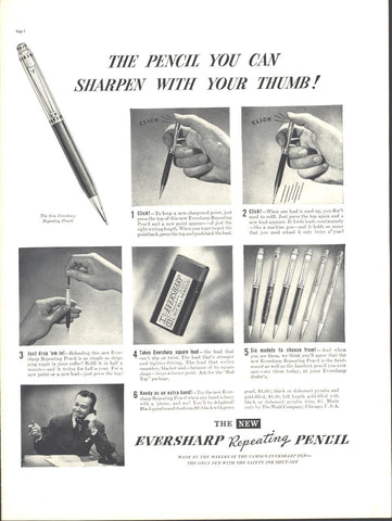 Eversharp Repeating Pencil Page LIFE August 30 1937