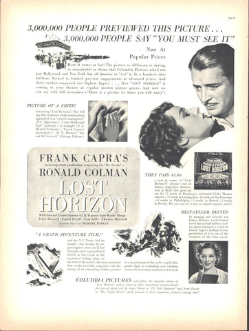 Lost Horizon Movie Frank Capra Page LIFE August 30 1937