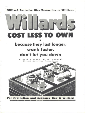 Willard's Automotive Batteries Page LIFE August 30 1937