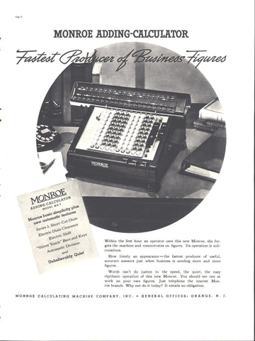 Monroe Adding Calculator Page LIFE August 30 1937