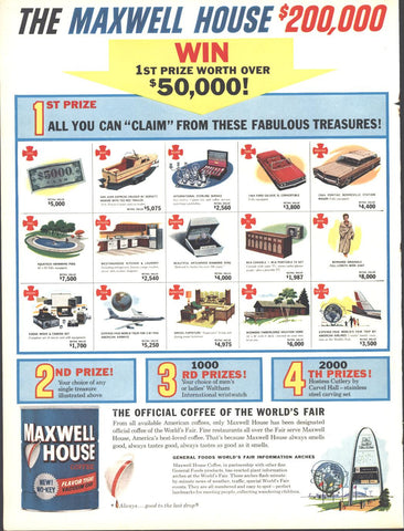 Maxwell House Coffee Sweepstakes LIFE June 12 1964