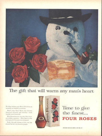 Four Roses Whiskey Christmas Page LIFE November 19 1956