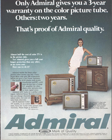 Admiral Color Televisions TV Page LIFE November 21 1969
