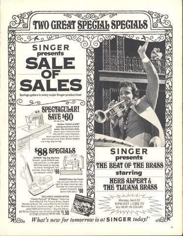 Singer Sewing Machines Herb Alpert Page LIFE April 19 1968