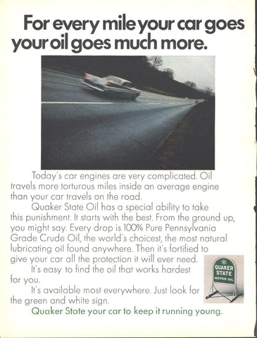 Quaker State Motor Oil Page LIFE April 19 1968