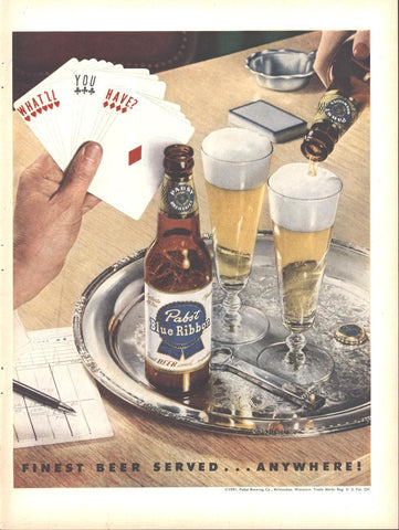 Pabst Blue Ribbon Beer Page LIFE August 13 1951