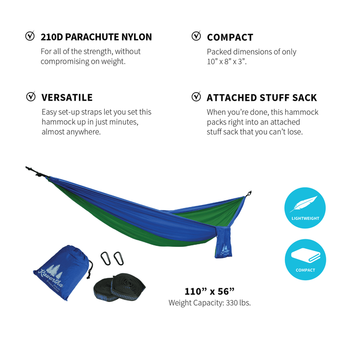HiRise Packable Hammock (Green/Blue)