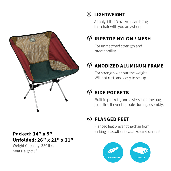 Camp Chair Set - (Grey/Maroon)