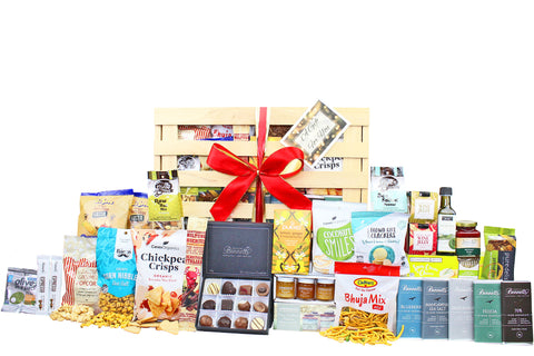 Gluten-free food gift hamper with a large selection of sweet and savoury food to share delivered NZ wide. Batenburgs Gift Hampers