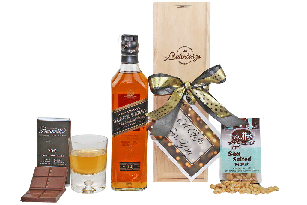 Whisky Johhnie Walker Black Label gift box with nuts and chocolate delivered NZ wide. Batenburgs Gift Hampers