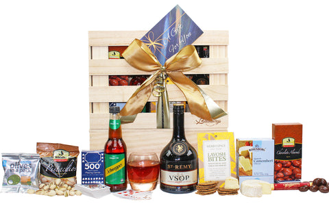 Brandy gift hamper with cheese, crackers, nuts, olives and chocolate delivered NZ wide. Batenburgs Gift Hampers