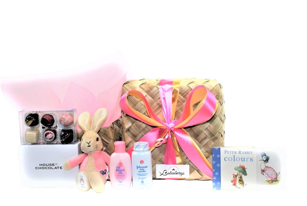 Flopsy bunny baby shower gift box for girl with chocolates delivered NZ wide.
