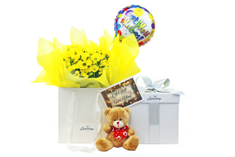 Get well soon gift with flowers, balloon and teddy delivered within NZ North Island.