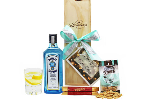Gift box Bombay Sapphire London gin with nuts and chocolates delivered NZ wide. Batenburgs Gift Hampers