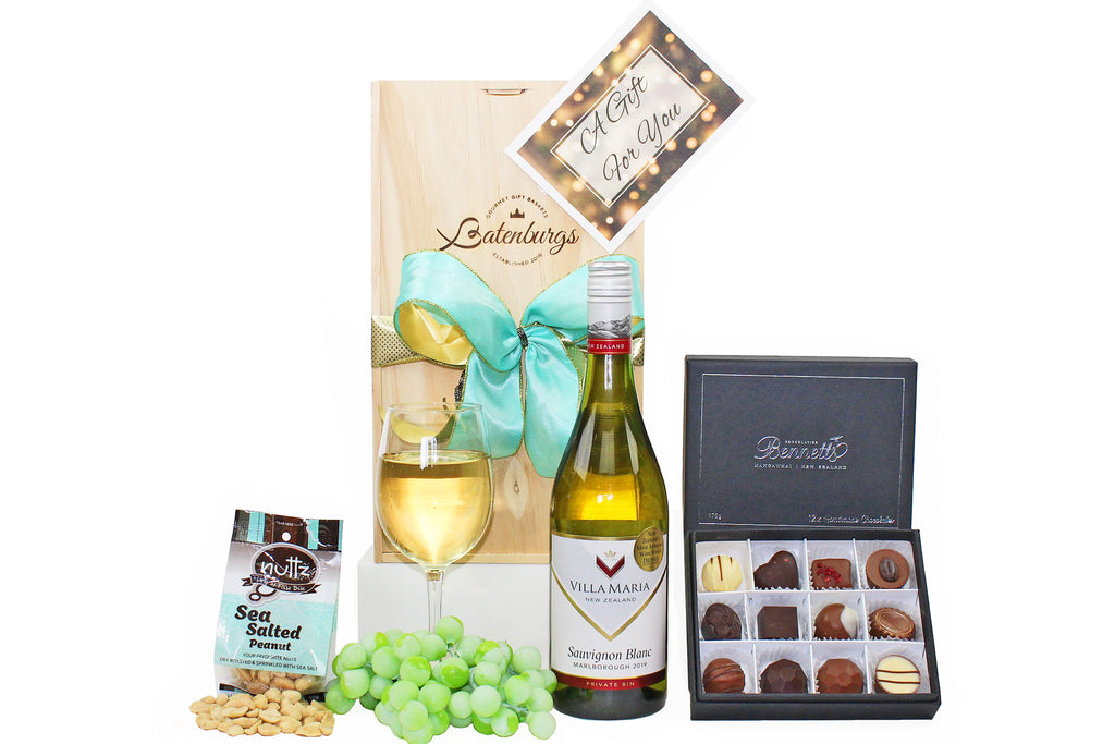 Gluten-free gift hamper with award-winning NZ Villa Maria wine, Bennetts chocolates and sea salted nuts delivered NZ wide