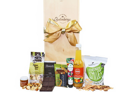 Gluten and Dairy-free Gift Hamper with food, organic juice and NZ hand cream. Delivered NZ wide