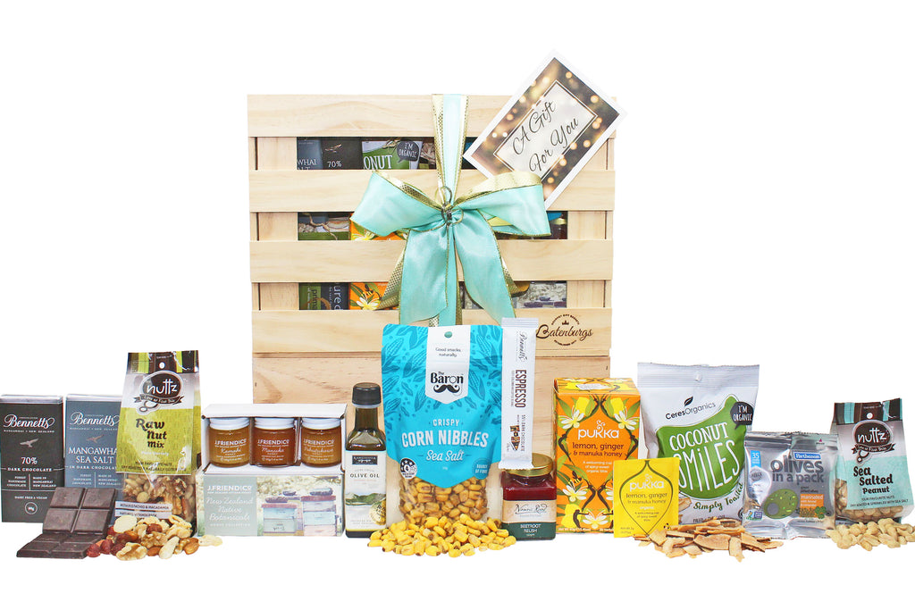 Gluten and Dairy-free gift hamper with a selection of sweet and savoury food delivered NZ wide. Batenburgs Gift Hampers
