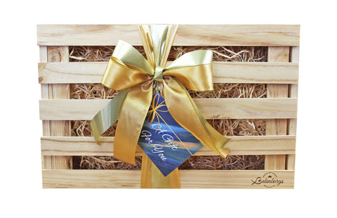 NZ large Gift hamper made from environmentally friendly pine finished with luxury satin ribbon and card with message from Batenburgs Gift Hampers