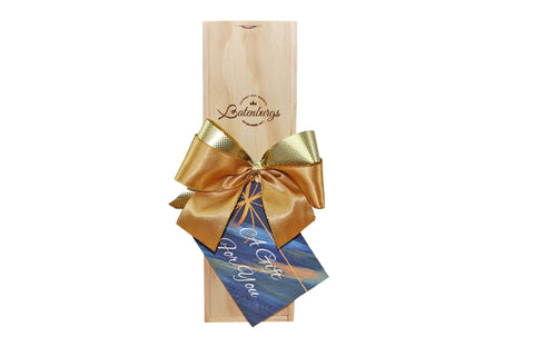 NZ wine bottle Gift hamper made from environmentally friendly pine finished with luxury satin ribbon and card with message from Batenburgs Gift Hampers