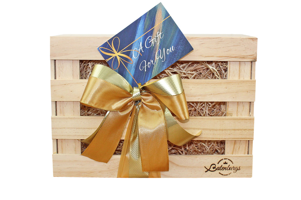 NZ medium food Gift hamper made from environmentally friendly pine finished with luxury satin ribbon and card with message from Batenburgs Gift Hampers