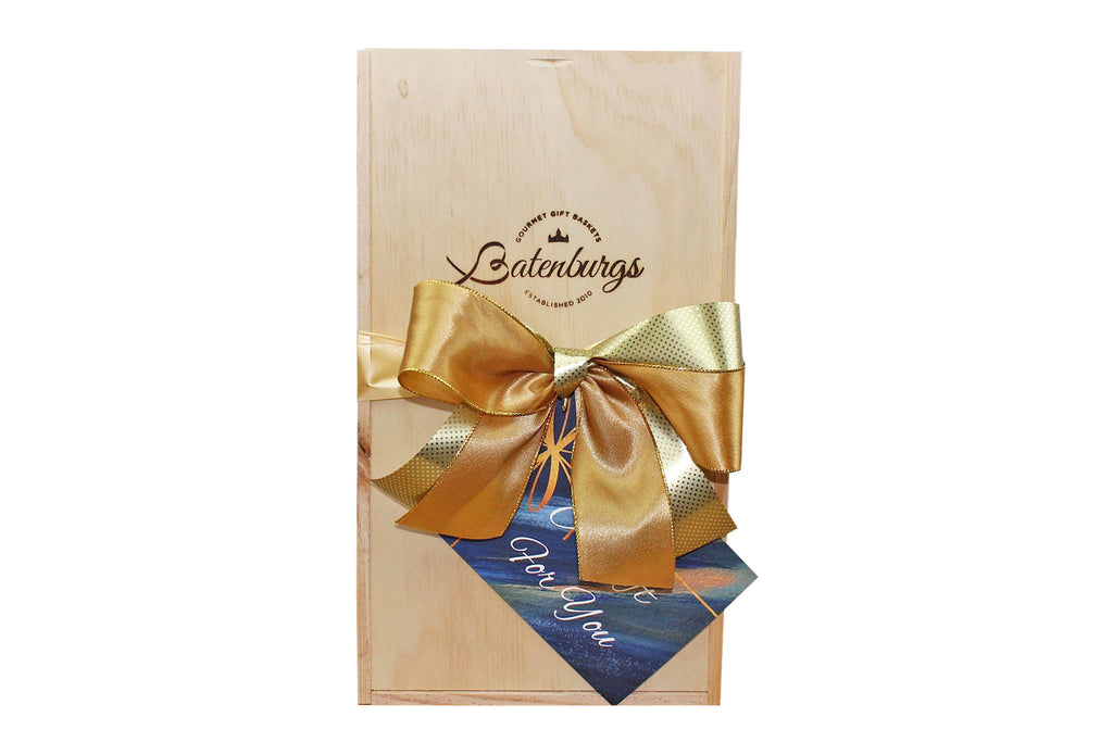 NZ medium Gift hamper made from environmentally friendly pine finished with luxury satin ribbon and card with message from Batenburgs Gift Hampers
