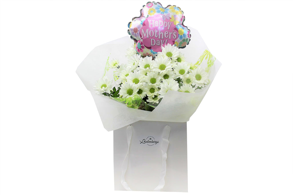 Mother's Day flowers and balloon gift from batenburgs gift baskets NZ