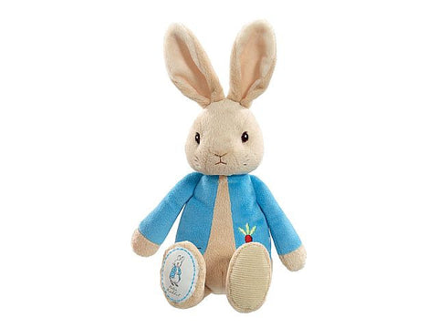My First Peter Rabbit soft toy is made from premium soft plush to ensure he is as gentle against babies skin as can be.  Peter rabbit is as seen in the original illustrations and is wearing his signature red jacket with a cute carrot  motif.  Peter is 26cm in height, has embroidered facial features, a cute Peter rabbit logo on his foot and makes a perfect gift for Newborns or as a nursery decoration piece.  Machine washable. Suitable from Birth.