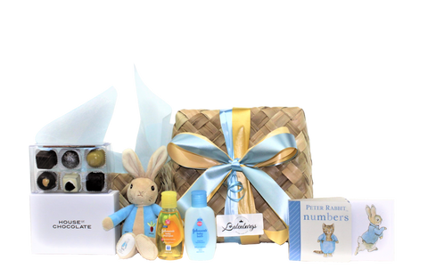 Peter Rabbit baby boy shower gift box with chocolates delivered NZ wide.