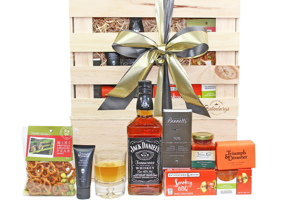 Gift set for men with whiskey, tasty snacks and grooming products from Triumph & Disaster delivered NZ wide. Batenburgs Gift Hampers