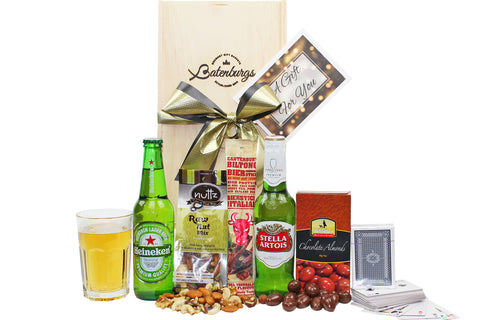 Gift with Heineken and Stella Artois larger, chocolate almonds, nuts, bierstick and playing cards delivered NZ wide. Batenburgs Gift Hampers