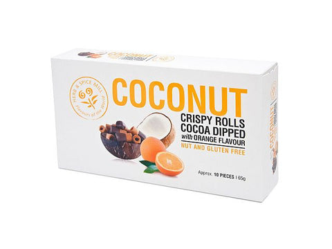These delicious Coconut Crispy Rolls are all natural and Gluten-free, made from 100% coconut milk mixed with tapioca starch and the tangy hint of orange, then carefully dipped in fine, rich cocoa to give a perfect treat.