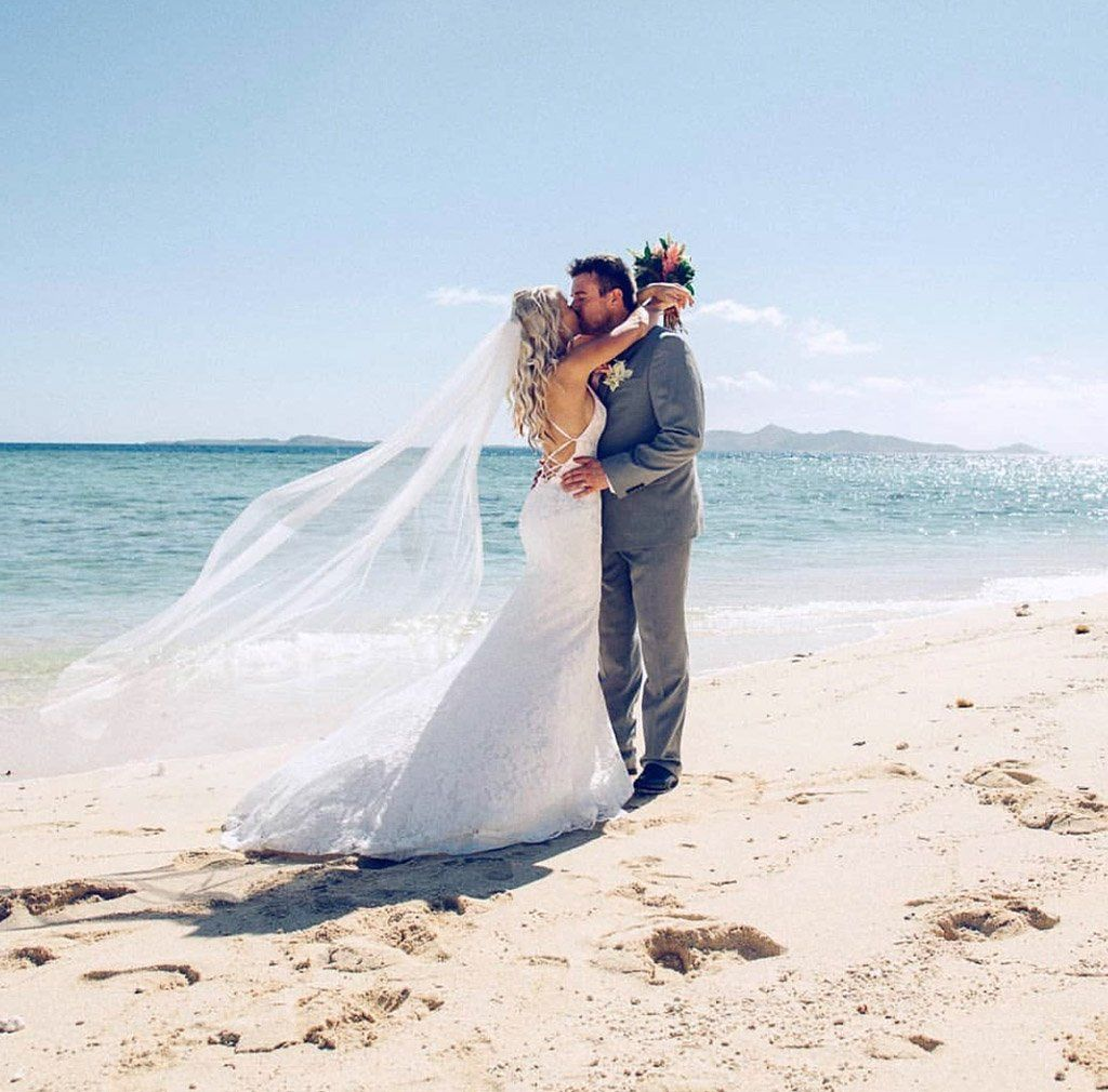 White Lace Beach Wedding