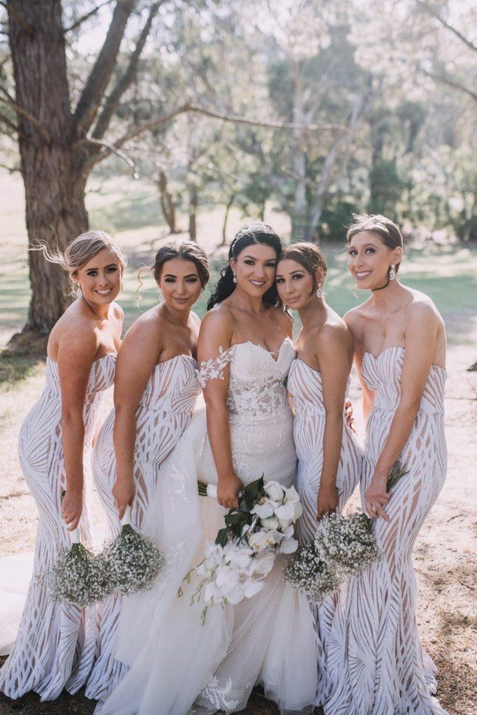 White Sequin Nude Underlay Bridesmaid Dresses