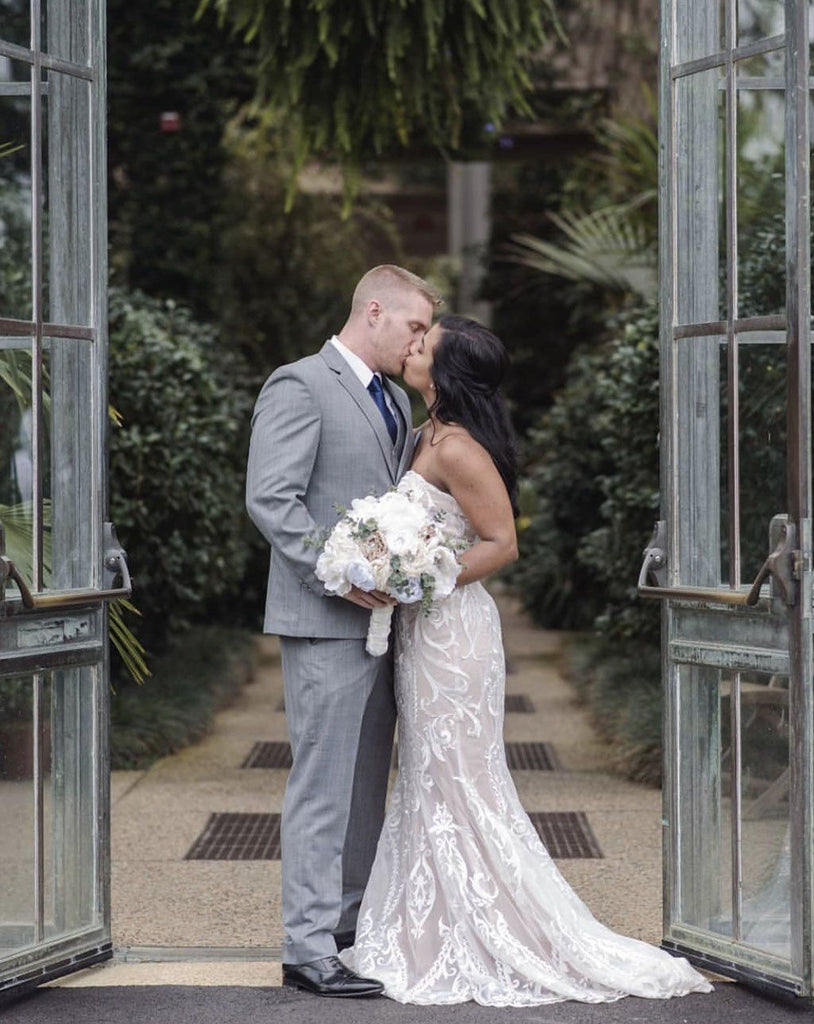 Beautiful Bride in Our Alessandra Gown