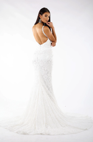 Fiona Lace Gown - White/White