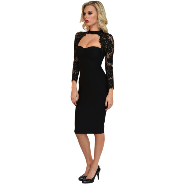 Black midi bandage dress with sheer lace long sleeves, sweetheart neckline and neck collar design