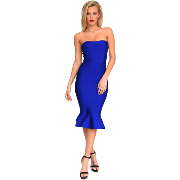 Blue strapless midi below knee bandage dress with subtle sweetheart neckline and peplum frill hem design
