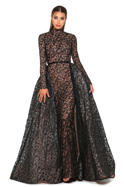 Style 1702 Long Sleeve Gown in Black/Nude by Portia & Scarlett