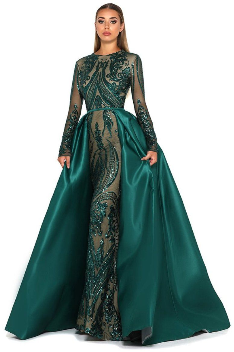 Emerald Green designer Portia & Scarlett custom-sequinned mesh mermaid evening gown with a double-lined satin detachable floor sweeping skirt cover up
