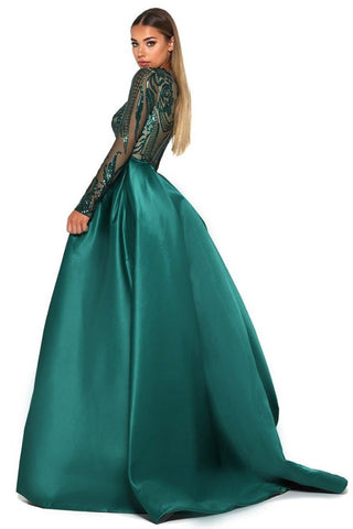 Style 1705 Long Sleeve Gown in Emerald by Portia & Scarlett