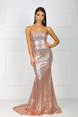 Strapless straight neckline form-fitted sparkly sequins evening gown in rose gold color