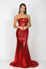 Strapless straight neckline form-fitted sparkly sequins evening gown in red color