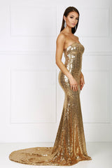 Strapless straight neckline form-fitted sequins evening gown in gold color